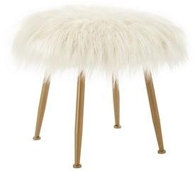 Linon Aster Cream Faux-fur Stool