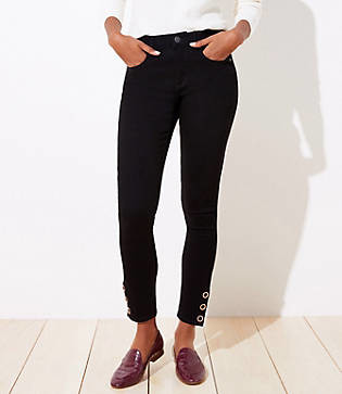 LOFT Petite Snap Hem Slim Pocket Skinny Jeans in Black