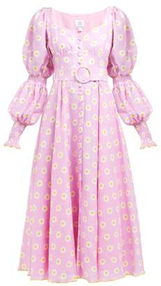 Gül Hürgel Floral-print Linen Midi Dress - Womens - Pink Print
