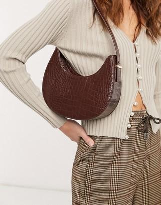 ASOS DESIGN curved shoulder bag in brown croc with long strap