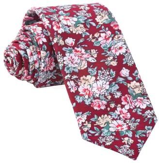 Tie Bar Rustica Florals Burgundy Tie