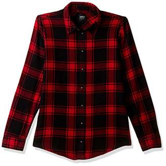 Only Women's ONLROCK IT Loose LS RED Check DNM Shirt,L(Size: 40)
