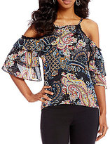 Takara Printed Cold-Shoulder Top