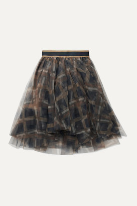 Brunello Cucinelli Kids - Checked Tulle Skirt - Army green