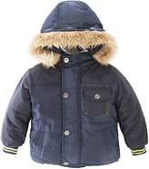 StylesILove.com StylesILove Winter Faux Fur Windproof Warm Cozy Fleece Hooded Coat Jacket - Navy