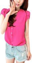 Allegra K Women's Stand Collar Cap Sleeves Half Placket Blouse S