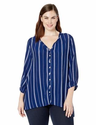 Karen Kane Women's Plus Size 3/4 Sleeve Handkerchief TOP