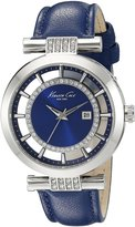"""Kenneth Cole New York Women's 10021102 """"Transparency"""" Crystal-Accented Leather Strap Watch"""