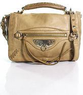 Sam Edelman Tan Leather Zipper Detail Studded Strap Crossbody Handbag