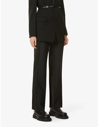 BEVZA Straight-leg high-rise woven trousers