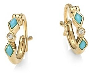 Sydney Evan Diamond & Turquoise 14K Yellow Gold Huggie Hoop Earrings