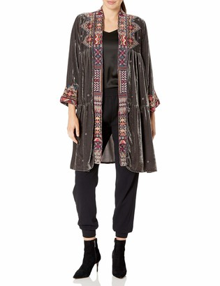 JWLA By Johnny Was Women's Velvet Tiered Duster Coat with Embroidery