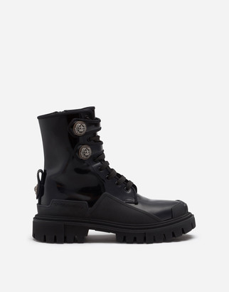 Dolce & Gabbana Polished Calfskin Trekking Boots With Buttons