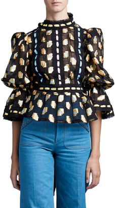 MARC JACOBS, RUNWAY Fil Coupe Victorian Blouse