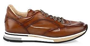 Dunhill Men's Patina Leather Low-Top Sneakers