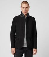AllSaints Men's Slim Fit Survey Leather Blazer, Black, Size: XS