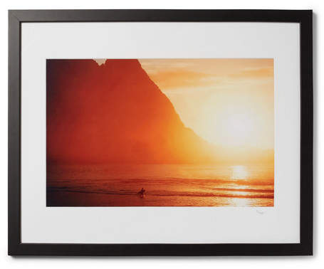 Sonic Editions Framed 1976 Walter Iooss Sunset Kauai Print, 17 X 21