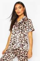 boohoo Mix & Match Leopard Print PJ Short Sleeve Top