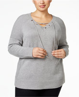 Calvin Klein Plus Size Lace-Up Sweater
