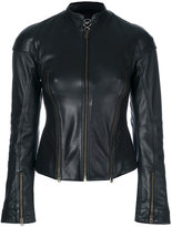 Alexander McQueen zipped detailed jacket - women - Calf Leather/Viscose - 36
