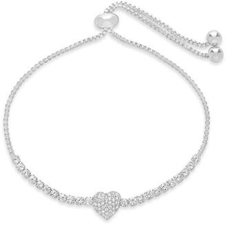 Sterling Forever CZ Heart Adjustable Bolo Bracelet
