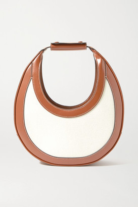 STAUD Moon Croc-effect Leather-trimmed Canvas Tote