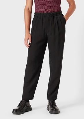 Giorgio Armani Crinkled Cupro Drawstring Trousers