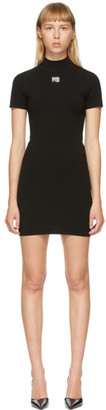 Alexander Wang Black Logo Patch Bodycon Dress