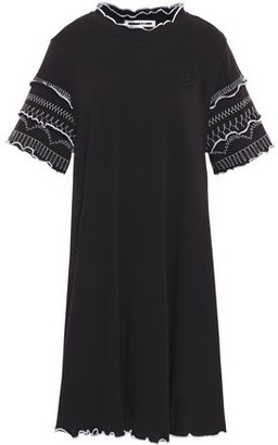 McQ Ruffle-trimmed Embroidered Cotton-jersey Mini Dress