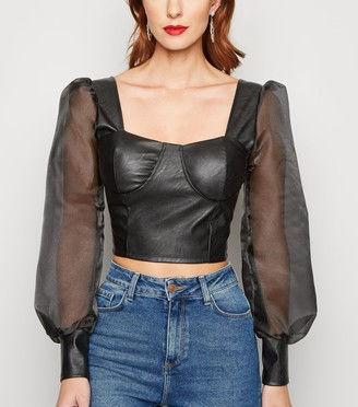 New Look Cameo Rose Leather-Look Organza Sleeve Top