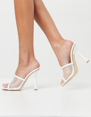 Truffle Collection bridal mesh panel heeled mules in white