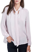 Velvet By Graham And Spencer Solid Neck-Tie Blouse