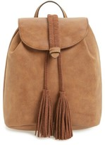 T-Shirt & Jeans Faux Suede Tassel Mini Backpack - Brown