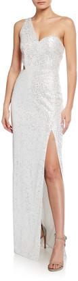 Aidan Mattox Sequin One-Shoulder Column Gown