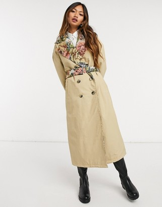 Neon Rose relaxed belted trench coat with floral contrast