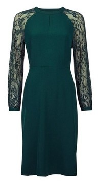 Dorothy Perkins Womens Green Lace Sleeve Fit And Flare Dress, Green