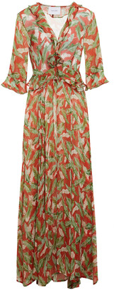 We Are Leone Printed Silk-chiffon Robe