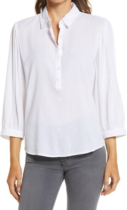Caslon Button Front Gauze Tunic Top