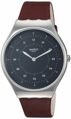 Swatch Skin Irony Stainless Steel Quartz Leather Strap Brown 16 Casual Watch (Model: SYXS102)