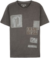 True Religion Taupe Patchwork-appliquéd Cotton T-shirt
