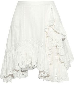 Love Sam Ruffled Striped Broderie Anglaise Cotton Mini Skirt