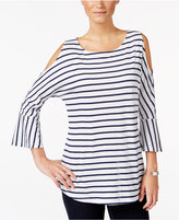 Style&Co. Style & Co. Striped Cold-Shoulder Top, Only at Macy's