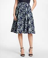Brooks Brothers Palm Tree Print Cotton-Silk Skirt