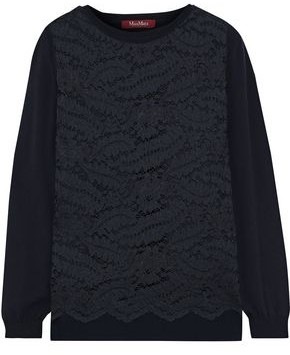 Max Mara Delta Layered Corded Lace And Knitted Sweater