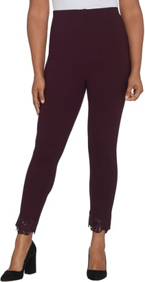 Kelly by Clinton Kelly Regular Ponte Pull-On Ankle Pants w/ Lace