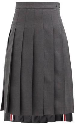Thom Browne Step-hem Pleated Wool Skirt - Grey