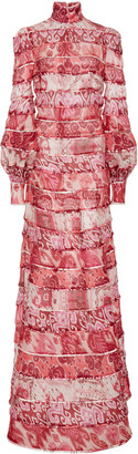 Zimmermann Wavelength Tiered Printed Silk Dress