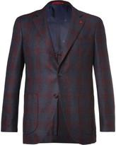 Isaia Blue Slim-Fit Checked Super 120s Wool Blazer