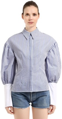 Striped Cotton Shirt W/ Puff Sleeves