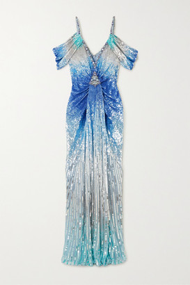 Jenny Packham Anahita Cold-shoulder Embellished Sequined Tulle Gown - Blue
